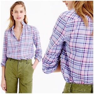 J. Crew Gathered Popover Shirt In Lilac Plaid Sz 4